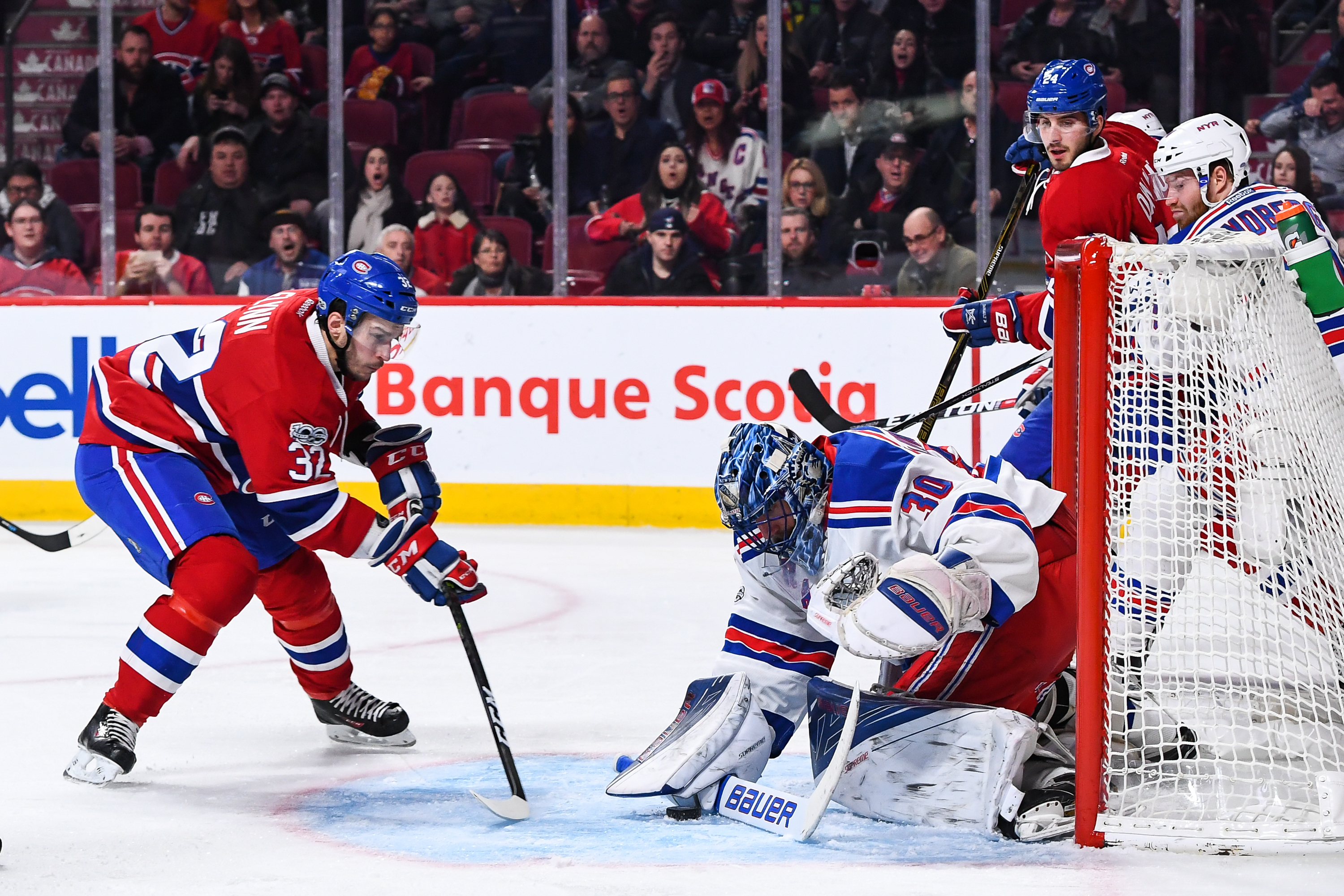 MONTREAL, QC - JANUARY 14:  Brian Flynn #32 of the Montreal Canadiens skates towards goaltender Henrik Lundqvist #30 of the New York Rangers during the NHL game at the Bell Centre on January 14, 2017 in Montreal, Quebec, Canada.  The Montreal Canadiens defeated the New York Rangers 5-4.  (Photo by Minas Panagiotakis/Getty Images)